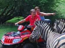 quad bike und  zebra casela nature and leisure park mauritius